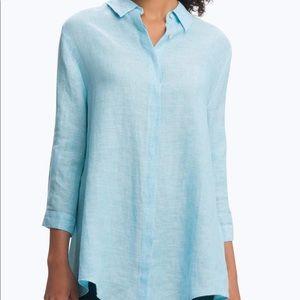 NEW! FOXCROFT blue linen tunic top size 12❤️